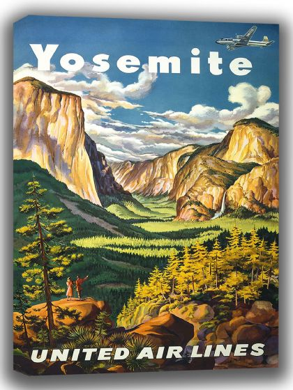 Yosemite. Vintage Travel/Tourism Canvas. Sizes: A4/A3/A2/A1 (002726)